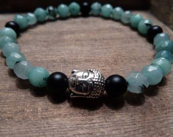 Faceted White Jade Onyx Buddha Stretch Bracelet, Sterling Silver Plated Buddha Charm, Gemstone Bracelet, Stretchy Bracelet, Faceted Gemstone