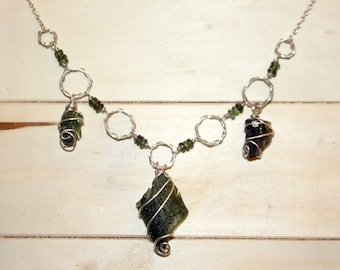 "REAL Moldavite Necklace, Moldavite Sterling Silver Necklace, 11 CT Moldavite Statement Necklace, 24"" chain, Chakra Pendant, Gifts for Xmas"