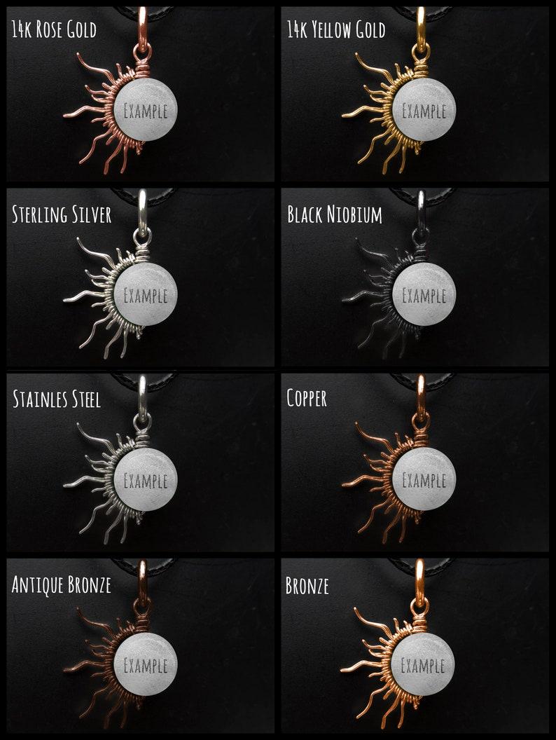 Rare Blue Euclase 12 Sun Silver-Steel-Copper-Gold-Bronze-Black Wire Gemstone Pendant Charm Eclipse Sun Moon Necklace December Birthstone