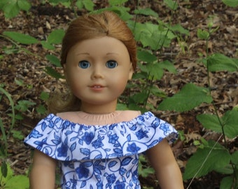 Cobolt Blue Off The Shoulder Romper for 18 Inch Girl Doll Clothes, Doll Clothes, American Made, Doll Romper, Gifts For Little Girls, Romper
