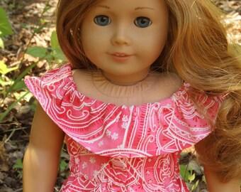 Off The Shoulder Romper for 18 Inch Girl Doll Clothes, Doll Clothes, American Made, Doll Romper, Gifts For Little Girls, Summer Romper