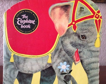 Vintage 1965 THE ELEPHANT BOOK A Golden Shape Children's Book, A Golden Shape Book, by Charles Nicholas