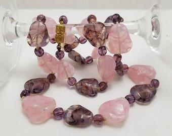 Vintage Pink & Purple Art Glass Necklace