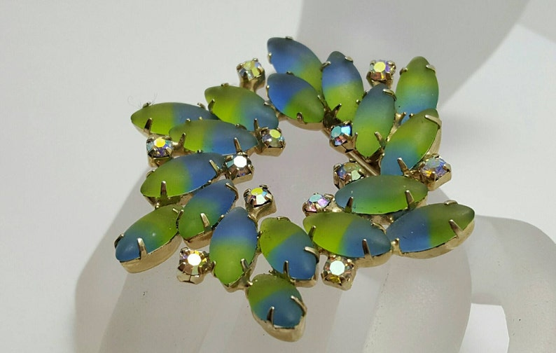Blue And Green Satin Glass Pin