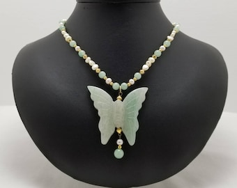 Jade And Pearls Butterfly Necklace
