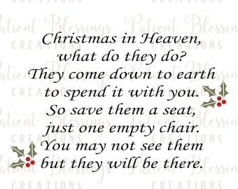 Merry Christmas From Heaven Poem Printable.Christmas In Heaven Etsy