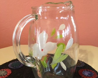 Vintage Hand Painted Clear Glass Pitcher