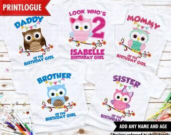 Owl First 1st Birthday Shirt  Owl Shirt  Girl Birthday Shirt  Monogrammed Birthday Shirt  Owl Birthday Shirt for Girls  2nd Second