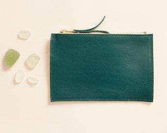 Mini pouch Cancale - Emerald & yellow