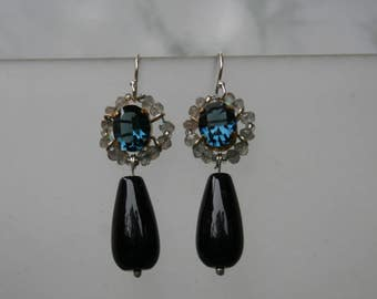 Montana Blue Labradorite cluster Drop Earrings, Ice Queen Onyx Drops, 1950's Vintage Inspired, Statement Earrings, Swarovski Crystal