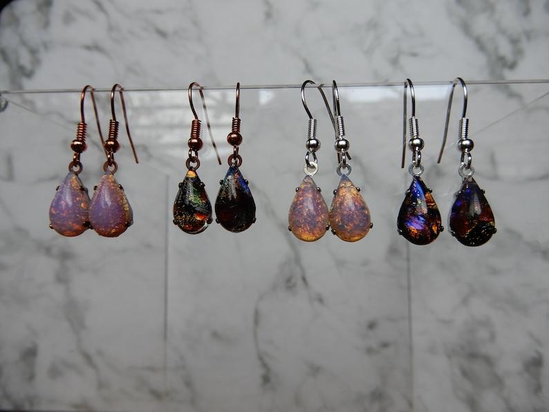 66cfd9118 Vintage Fire Opal Earrings Petite Vintage Harlequin Opal | Etsy
