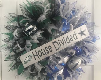 Philadelphia Eagles/Dallas Cowboys House Divided Wreath