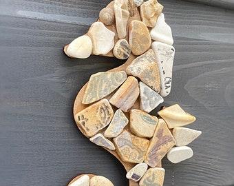 Mosaic Seahorse, Sea pottery seahorse, broken china seahorse, seahorse decoration, West Coast Scotland Sea Pottery, handmade seahorse