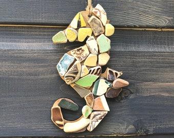 Mosaic Seahorse, Sea pottery seahorse, broken china seahorse, seahorse decoration, West Coast Scotland Sea Pottery, handmade