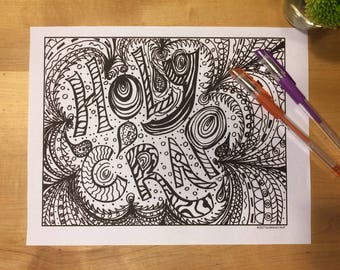 Douche Canoe Adult Coloring Page Digital Download Swear Word 18 Interesting Insult Naughty Doodle Anti Stress
