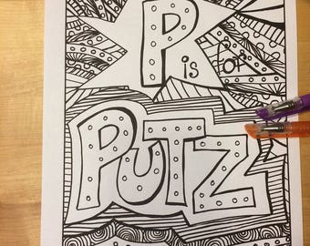 P Is For Putz Adult Coloring Page Digital Download Naughty Alphabet Primer Anti Stress Swear Word 18 And Over