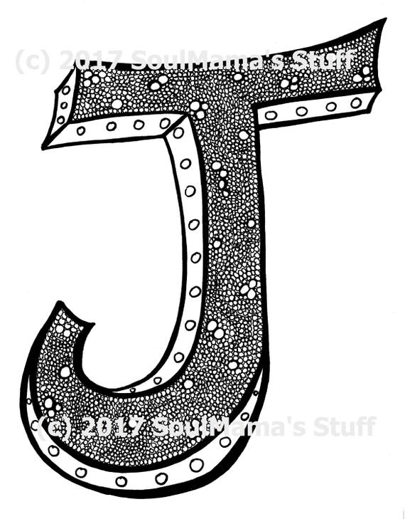 Tiny Bubbles Capital Letter J Coloring Page J Digital Etsy