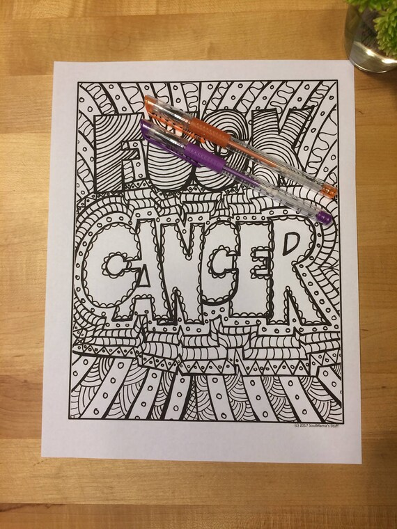 Fck Cancer Adult Coloring Page Digital Download Swear Word