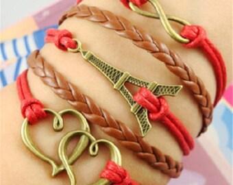 Leather Bracelet The Eiffel Tower Hearts Bracelet Infinity Bracelet Friendship Bracelet Jewelry