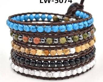 Bracelet, Boho Wrap Bracelet, Leather Bracelet, Leather Beaded Wrap, Bohemian Style, Charm Bracelet, Black Beaded Bracelet