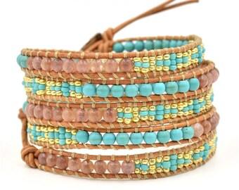 Mother's day Gift Bracelet, Boho Wrap Bracelet,  Leather Bracelet, Leather Beaded Wrap, Bohemian Style, Charm Bracelet Black Beaded Bracelet