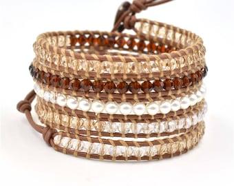 Mother's day gift Beaded Bracelet Boho Wrap Bracelet Leather Bracelet Beaded Wrap Bohemian Style Charm Bracelet Brown Beaded Bracelet