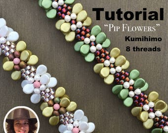 Kumihimo 8 threads pattern tutorial Pip flowers