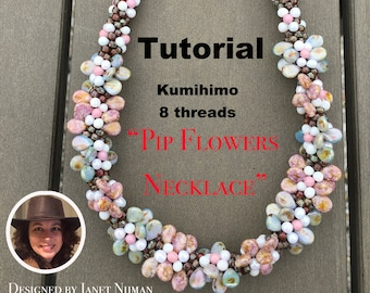 Kumihimo 8 threads pattern tutorial Pip flowers necklace