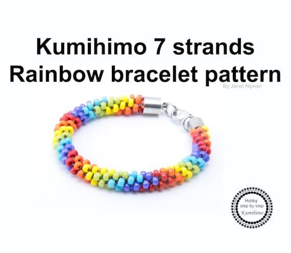 Kumihimo pattern tutorial 7 strands Rainbow bracelet and   Etsy
