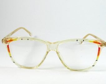 Florence Design Mod:512, Vintage Florence Design Clear Transparent Glasses, Original 80s Geometric Eyeglasses made in Italy