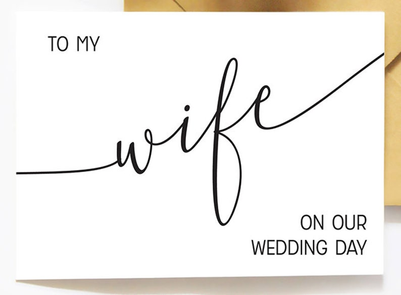 Spouse Married Card Day Of Wedding A2 Wedding Card Love Note Wife Wedding Card To My Wife On Our Wedding Day Elegant Cursive Card