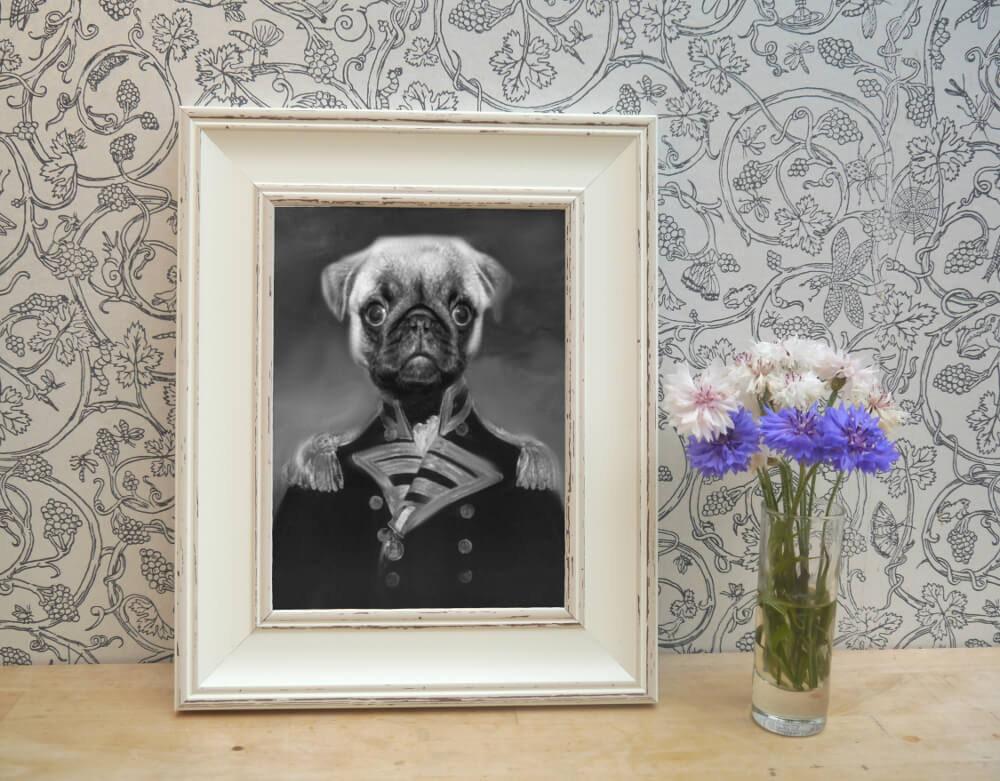 Retrato de mascotas Pug enmarcado impresión en blanco y negro | Etsy