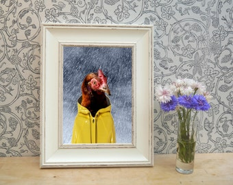 Chicken In Rain Framed Portrait Print