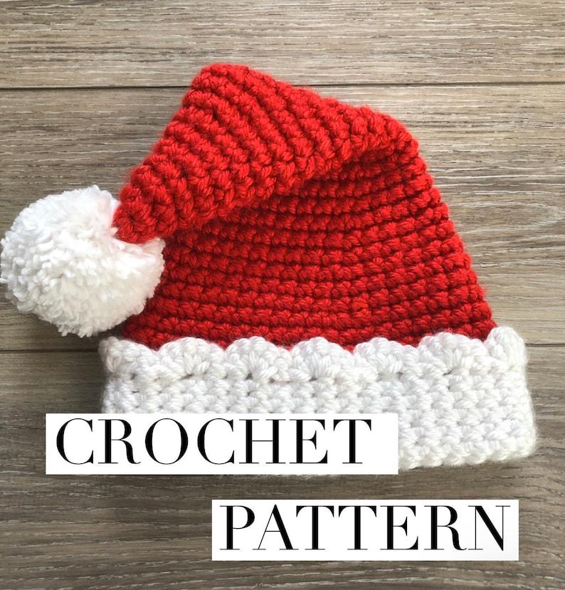 Crochet Santa Hat Pattern Christmas Hat Pattern Santa Hat image 0