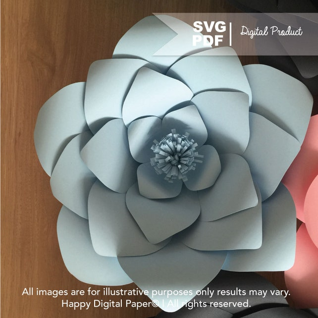 DIY Giant Paper Flower Digital Template PDF and SVG Rounded | Etsy