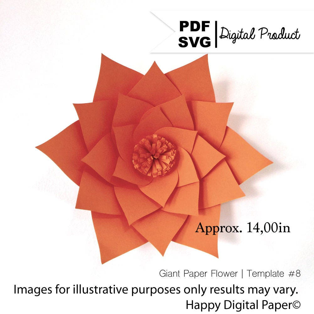 Diy Giant Paper Flower Digital Template Pdf And Svg Template Etsy