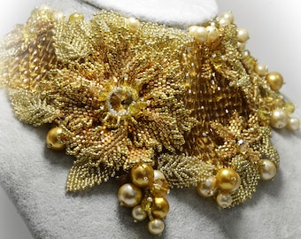 Gold Floral Beaded Jewelry Set, Pearl Rhinestone and Crystal Choker Necklace & Bracelet, Wedding Bridal Handwoven Jewelry, Valentines Gift