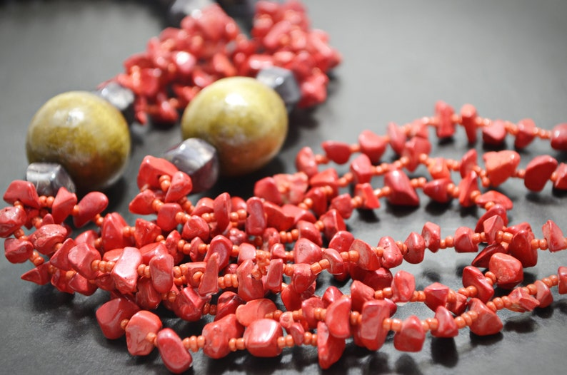 Red Coral Beaded Necklace Long Layered Necklace Multi Strand Long Necklace Natural Red Coral Beaded Artisan Jewelry Gifts for Mom
