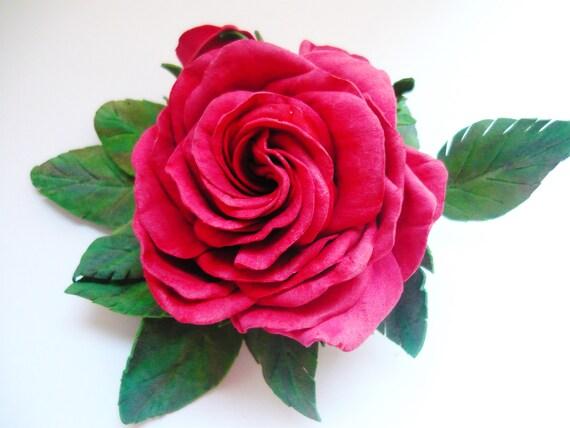 Boutonnière Artisan bijoux cadeau fleur rouge broche cheveux accessoire broche florale Pin mariage mariée Rose broche les demoiselles d'honneur broche du marié