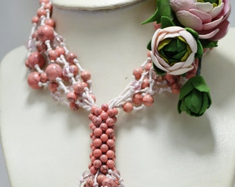 Wedding Pink Coral Statement Multi Strand Bridal Necklace with Flower Brooches, Modern Holiday Fashion Bridesmaids Party Set, Gift for Her