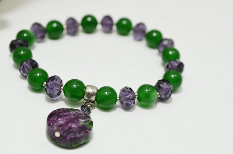 Beaded Gemstone Set Natural Ruby Zoisite Green and Purple Unique One of a Kind Artisan Jewelry Gift Chrysoprase Necklace Bracelet Set of 3