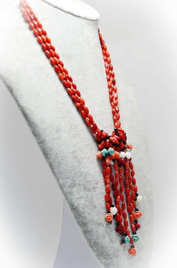 Red Coral Beaded Jewellery Set Wedding Jewellery Set Gift For Her Valentines Gift for Her