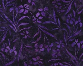 Purple Cotton Batik Fabric Flowers Noble Artisan Batik Evening Glow by Lunn Studios Collection, Robert Kaufman Fabrics