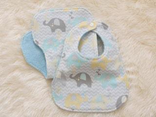 Baby boy pair of bib and burp cloth - baby shower gift bundle - baby gift set - baby boy bib - burp cloth - bib and burp cloth