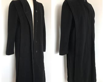 00e351b42e2 Vintage full length 40s style black wool coat by Forecaster of Boston • US Women s  size 7 8 (Medium) • Made in USA