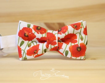 red poppies flowers Bow tie - Bowtie