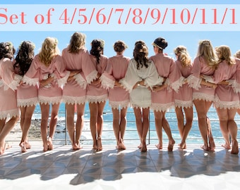 Rayon Bridesmaid Robes Set of 4/5/6/7/8/9/10/11/12/13/14/15 - with lace trims, with shipping cost