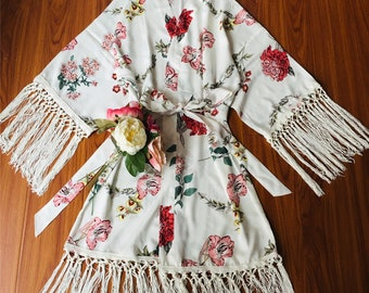 b5d7e25b1c White Floral Bride Bridesmaid Robes-Tassel Fringe Boho Robe-Wedding party  gift-bridesmaid gift-floral colors