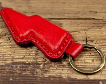 Beautiful handmade leather keychain BOLT RED