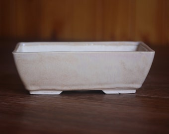 Cream beige rectangular bonsai pot